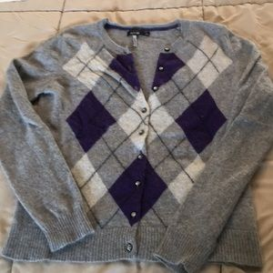 Purple and grey button up sweater
